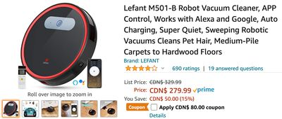Amazon Canada Deals: Save 39% on Lefant Robot Vacuum Cleaner with Coupon + 30% on Onaroo OK to Wake Alarm Clock and Night-light + More Offers