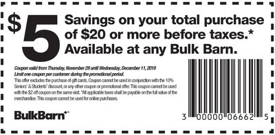 Bulk Barn Canada Coupons and Flyer: Save $5 Off Your Purchase with Coupons + 20% off Select Items
