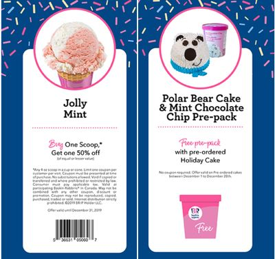 Baskin Robbins Canada December Coupons: BOGO 50% Off Scoops, FREE Pre-Pack with Pre-Ordered Holiday Cake