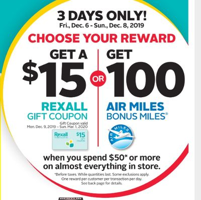Rexall Pharma Plus Drugstore Canada Coupon & Flyers Deals: FREE $15 Gift Card or 100 Air Miles With $50 Purchase + More