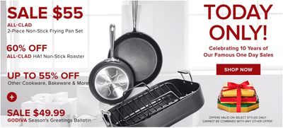 Hudson's Bay Canada One Day Sale: Today, All-Clad HA1 2-Pack Non-Stick Frying Pans for $55 + Extra 20% off with Coupon Code