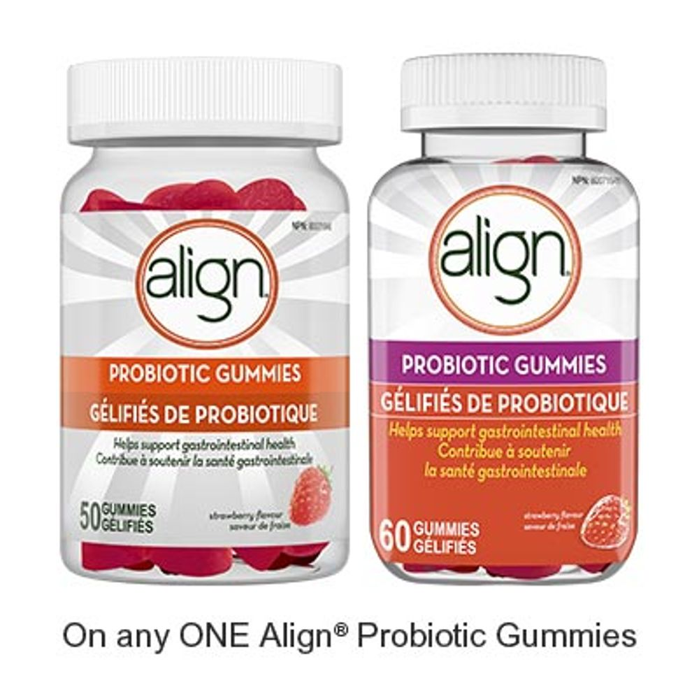 Save $3.00 when you buy any ONE Align Gummies Probiotic Product (excludes trial/travel size, value/gift/bonus packs)