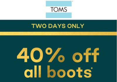 TOMS Canada 2-Day Sale: Save 40% Off All Boots, with Coupon Code