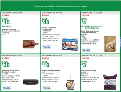 Costco Canada More Savings Weekly Coupons/Flyers for: Quebec, December 9 – 24