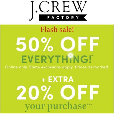 J.Crew Factory Canada Online Flash Sale: Save 50% off Everything + Extra 20% off with Coupon Code