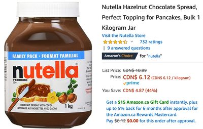 Amazon Canada Deals: Save 44% on Nutella Hazelnut Chocolate Spread 1 Kg Jar + 57% on Cleaver Knife 7″ with Coupon + More Offers