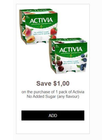 Activia Canada Coupons: Save $1 On Activia No Sugar Added + More!