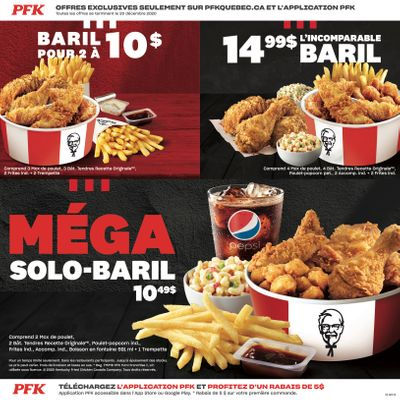 KFC Canada Coupons (Quebec-Gatineau), until December 20, 2020