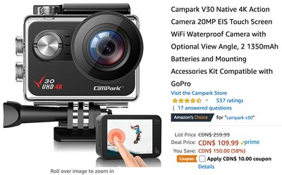 Amazon Canada Deals: Save 62% on 4K Action Camera Touch Screen WiFi with Coupon + 47% on 3 Tier Metal Wire Baskets + More Offers
