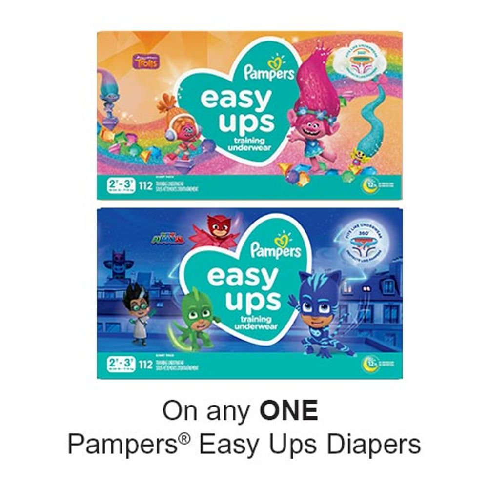 Save $2.00 when you buy any ONE Pampers Easy Ups Diapers (excludes trial/travel size, value/gift/bonus packs)