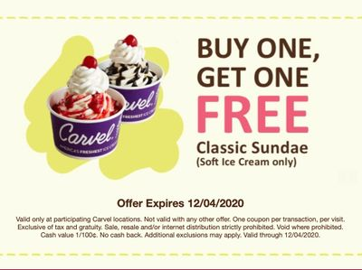 Sign Up for Carvel's Fudge Fanatics Online and Receive a BOGO Classic Soft Ice Cream Sundae Coupon