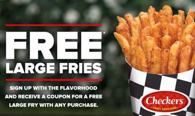 Sign Up for Checkers EClub and Get a Coupon for a Free Large Fries with Purchase
