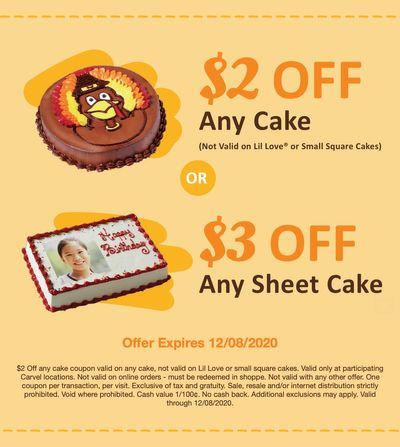 New $2 Off Carvel Cakes and $3 Off Carvel Sheet Cakes Coupons at Carvel