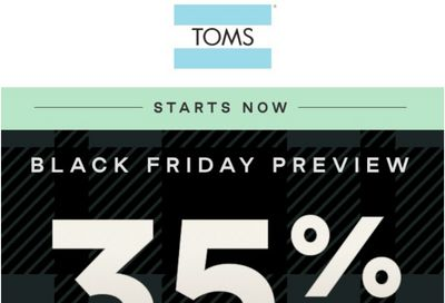 TOMS Canada Black Friday 2020 Sale Starts NOW: Save 35% off Everything Including Markdowns