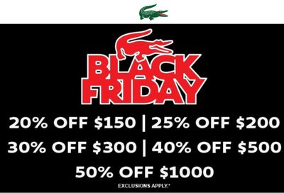 Lacoste Canada Black Friday Buy More Save More Sale: Save 20% to 50% off Using Coupon Code + Free Shipping