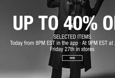 ZARA Canada Black Friday Sale: Save Up to 40% Off *Starts at 8pm Tonight*