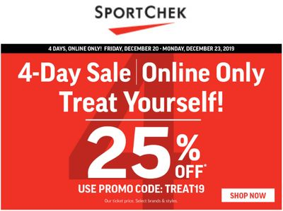 Sport Chek Canada Pre Boxing Day 4-Day Online Sale: Save 25% Off with Coupon Code!