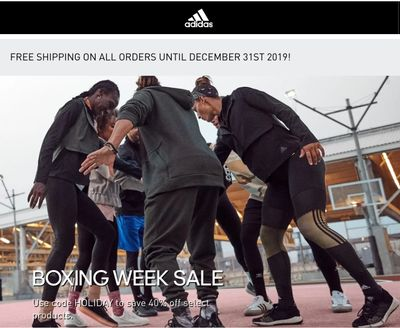 Adidas Canada Boxing Week Sale: Save 40% Off Regular Priced Items With Coupon Code + Extra 50% off Outlet + FREE Shipping + More