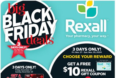 Rexall Canada Big Black Friday Deals: Get a FREE $10 Rexall Gift Coupon or 40,000 Points When You Spend $40 + 3 Day Sale + Hot Deals