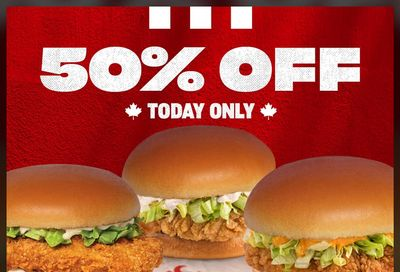 KFC Canada Black Friday 2020 Promotion: Today, Save 50% Off Sandwiches & Combos, Today Only