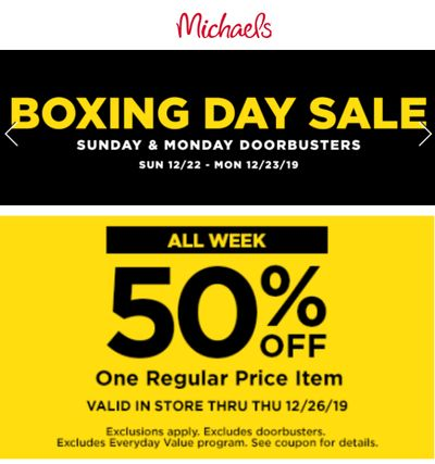 Michaels Canada Boxing Day Doorbusters Sale + 55% off Coupon + More Deals