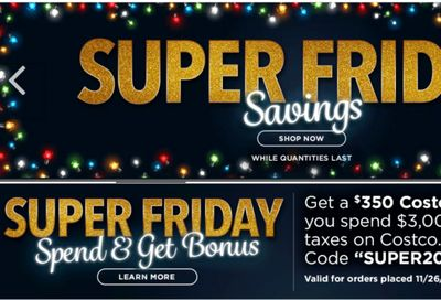 Costco Canada Online Black Friday Offers: Get a $350 Costco Shop Card When you Spend $3000 Online, with Coupon Code