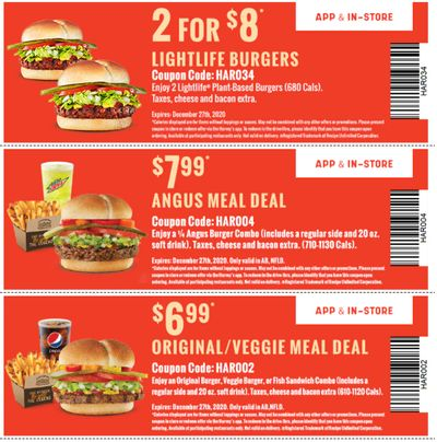 Harvey's Canada Coupons(AB): until December 27