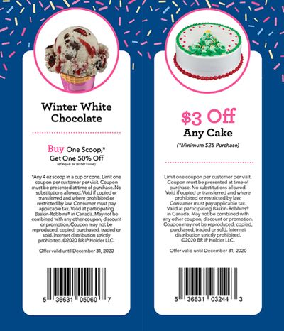 Baskin Robbins Canada Coupons: BOGO 50% Off Scoops, Save $3.00 off Any Ice Cream Cake