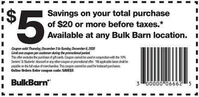 Bulk Barn Canada Coupons and Flyer Deals: Save $5 Off Your Purchase with Coupons + 25% off Select Items
