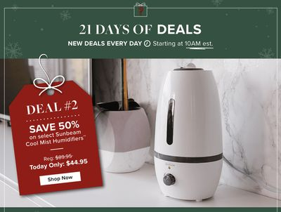 Linen Chest Canada 21 Days of Deals:Today, Save 50% onSunbeam Ultrasonic Cool Mist Humidifier, with Coupon Code