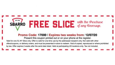 Join the Online Slice Society at Sbarro Pizza and Get a Coupon for a Free XL NY Slice with Beverage Purchase