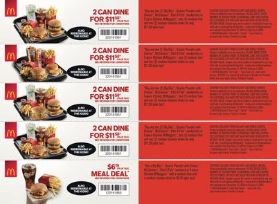 McDonald's Canada Coupons (NF) December 27 to February 2