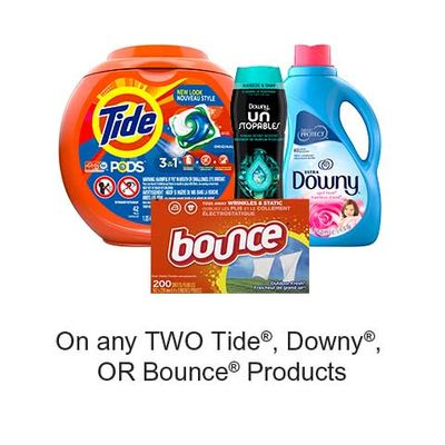Save $3.00 when you buy any TWO Tide Products (excludes trial/travel size, value/gift/bonus packs)