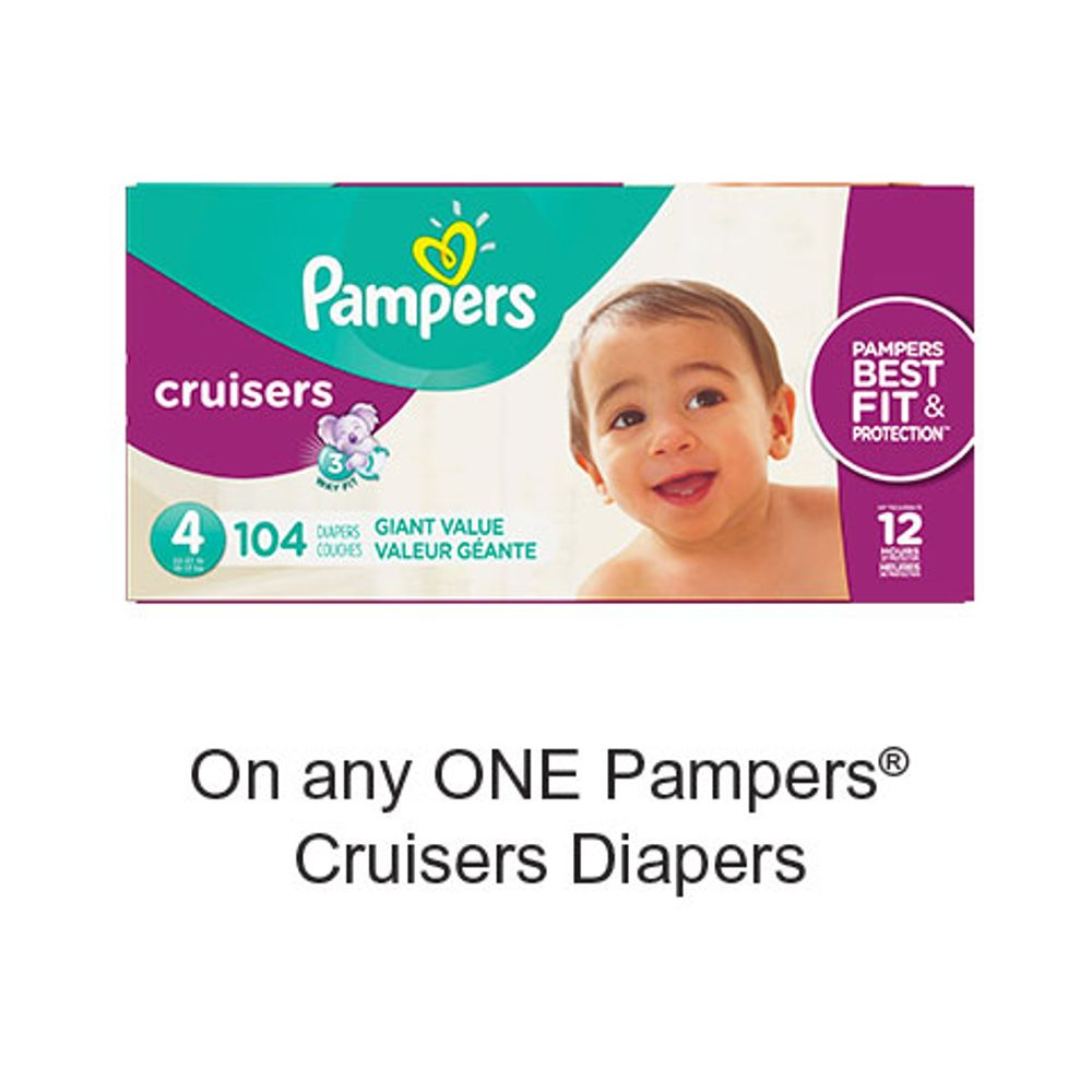Save $2.00 when you buy any ONE Pampers Cruisers Diapers (excludes trial/travel size, value/gift/bonus packs)