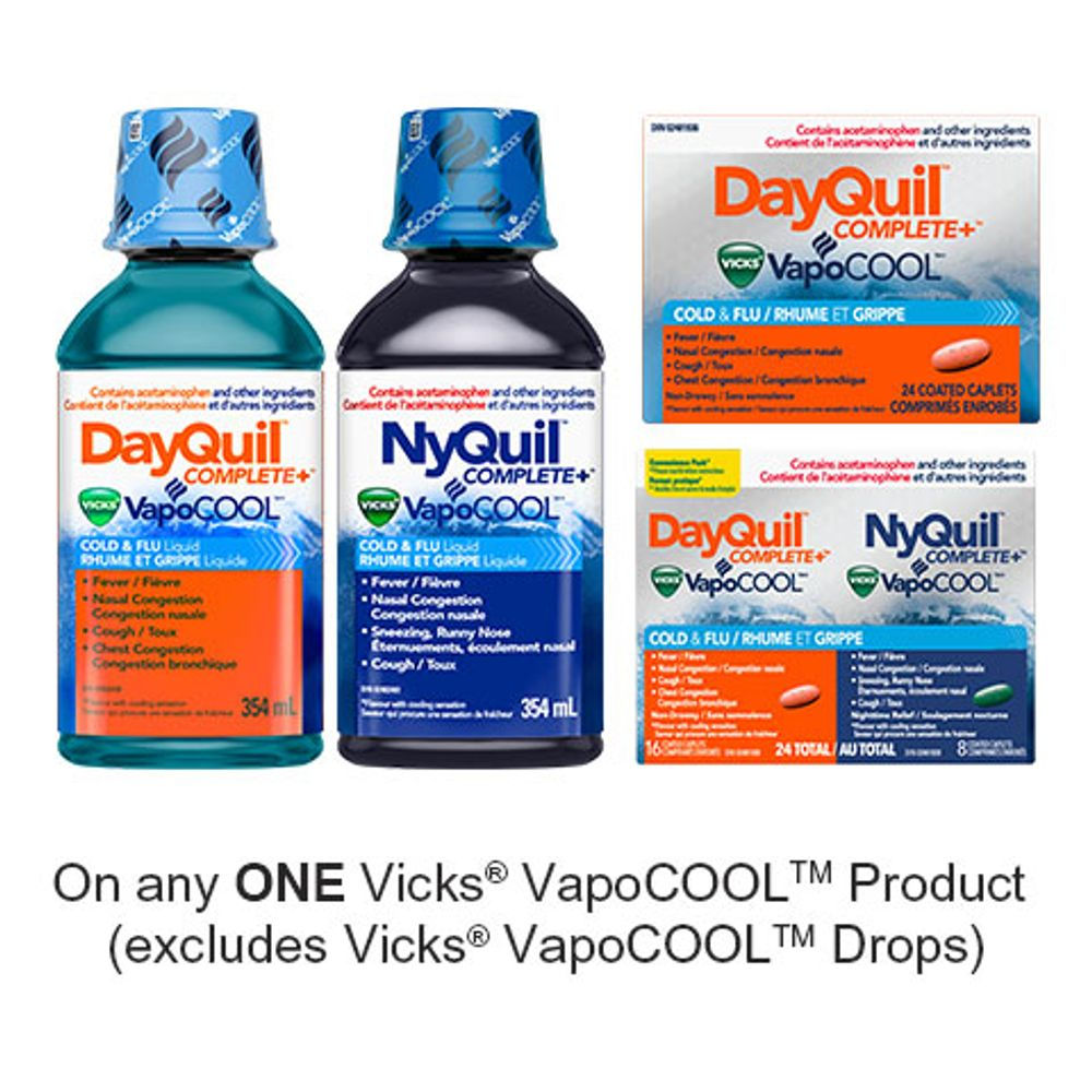 Save $3.00 when you buy any ONE Vicks VapoCOOL Cold & Flu Product (excludes Vicks VapoCOOL Drops, trial/travel size, value/gift/bonus packs)