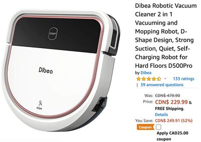 Amazon Canada Deals: Save 57% off Dibea Robotic Vacuum Cleaner 2 in 1 With Coupon + 36% off Personal Portable Oven 12V Car Food Warmer With Coupon!