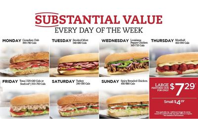 SUBSTANTIAL VALUE Sm $4.49 & Lrg $7.49 at Mr. Sub