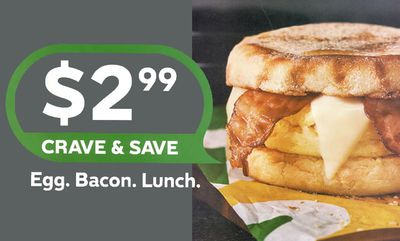 $2.99 Egg and Bacon English Muffin at Subway