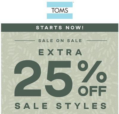 TOMS Canada Sale on Sale: Save an Extra 25% Off Sale Styles with Coupon Code!