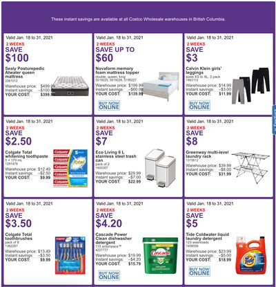Costco Canada More Savings Weekly Coupons/Flyers for Western Canada: British Columbia, Alberta, Saskatchewan & Manitoba, until January 31
