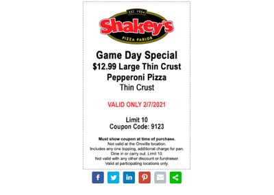 February 7 Only: Pizza Perks Members Check Your Inbox for a $12.99 Large Pepperoni Pizza Coupon at Shakey's Pizza