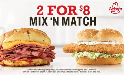 2 for 8 Mix 'n Match at Arby's
