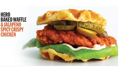 Baked Waffle Crispy Jalapeño Chicken at Hero Certified Burgers