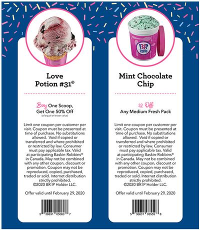 Baskin Robbins Canada Coupons: BOGO 50% Off Scoops + $2 off any Medium Fresh Pack