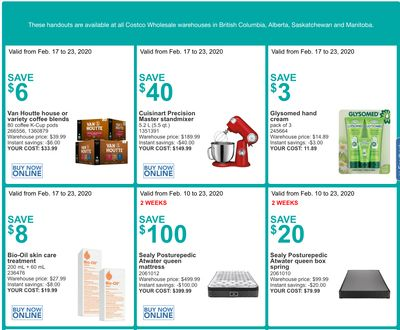 Costco Canada More Savings Weekly Coupons/Flyers for Western Canada: British Columbia, Alberta, Saskatchewan & Manitoba, February 17 – 23