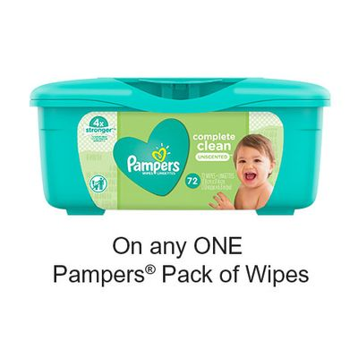 Save $1.00 when you buy any ONE Pampers Pack of Wipes (excludes trial/travel size, value/gift/bonus packs)