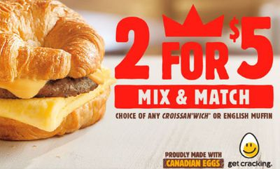 2 FOR $5 BK Breakfast at Burger King
