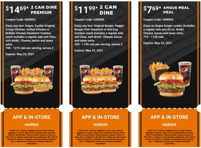 Harvey's Canada Coupons (QC): until May 23