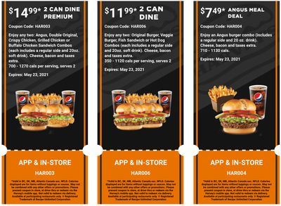 Harvey's Canada Coupons (BC, SK, MB, Atlantic Canada exc. NFLD): until May 23