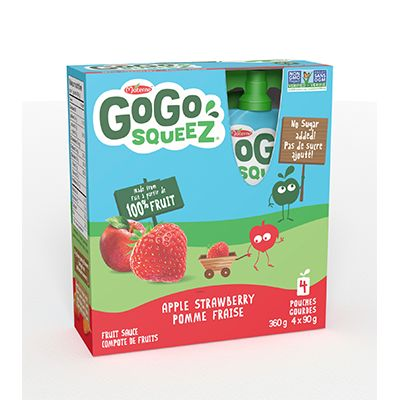 Save $0.50 on one (1) pack of 4 pouches GoGo squeeZ fruit sauce (360 or 440g)
